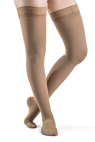 SIGVARIS Women's Soft Opaque 840 Closed Toe Thigh High w/Grip-Top 20-30mmHg