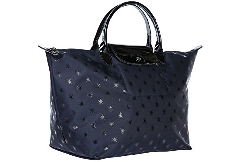 Longchamp borsa donna a mano shopping in nylon nuova blu