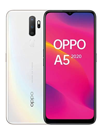 OPPO A5 2020 – Pantalla de 6.5″ (HD+, 3 GB/ 64 GB, Snapdragon 665, 5.000 mAh, cámara trasera 12 Mpx + 8 Mpx (gran angular) + 2 Mpx + 2 Mpx, Android 9) Blanco [Versión ES/PT]