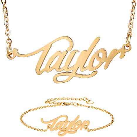 10k Solid Gold Personalized Name Necklace Old English Font Skull Flower Jewelry