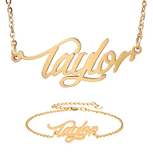 HUAN XUN Person Name Necklace & Bracelet Taylor Name in Gold
