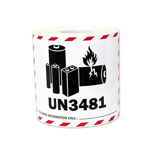 300 Labels - UN3481 Lithium Ion Battery Stickers for Battery Warning Shipping & Handling Warning (4 x 3 Inch - 1 Roll)]()