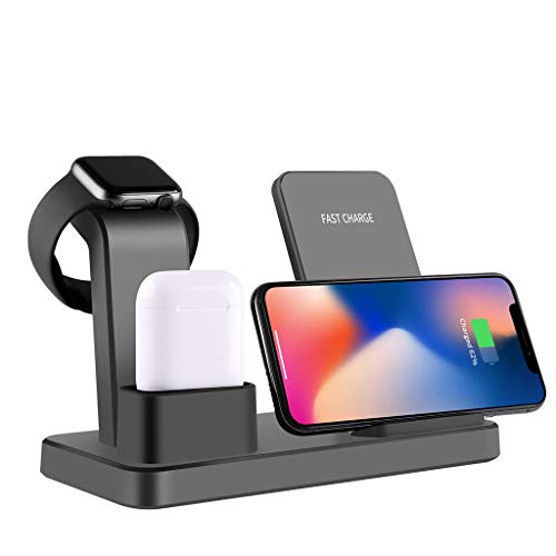 (Qi Wireless Charging Fast Charger Stand for Apple Watch Holder for Apple Airpods for iOS and Android Phones with No Conflict (Gray))