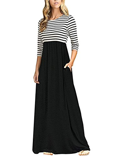 OURS Women's Casual Striped Sleeveless Floral Print Bohemian Tank Dresses Party Evening Long Maxi Dresses with Pockets (A-Striped Black, -