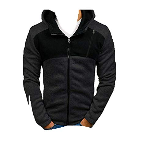 Pullover!!Men Long Sleeve Hooded Sweatshirt,Boys Splicing Button Tops Blouse (S, Dark Gray)