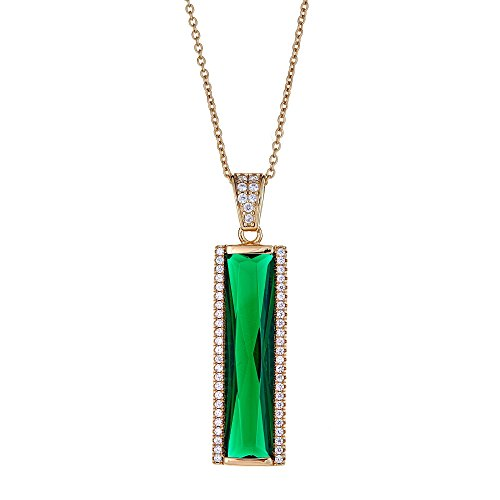 (Joy and Rachel Gold Plated 925 Sterling Silver Baguette Green CZ Vertical Rectangle Bar Pave Pendant Necklace)