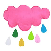 JMHWALL Kids Play Tent Decoration Tent Props Toy Raining Clouds Water Drop/Star Moon Baby Bed Room Hanging Decor Wall Stickers ,Pink