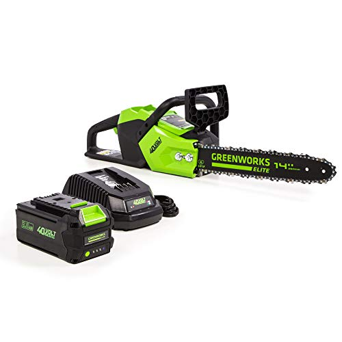 Greenworks 14-Inch 40V Brushless Cordless Chainsaw, 3.0 Ah, CS-140