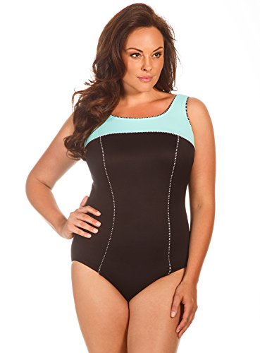Miraclesuit Mint Colorblock Plus Size Touche Underwire One Piece Swimsuit Size 22W by Miraclesuit