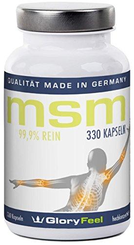 MSM Kapseln - 330 Stück Organischer MSM Schwefel (Methylsulphonylmethan) - MSM Pulver - 5-6 Monatsvorrat - Made in Germany