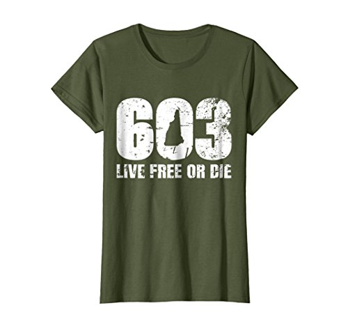 Womens 603 New Hampshire T Shirt   Live Free Or Die Xl Olive
