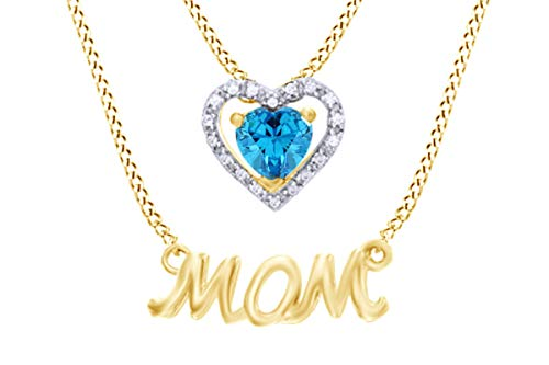 (Mothers Day Jewelry Gifts Simulated Aquamarine & White Diamond Accent MOM Double Strand Pendant Necklace in 925 Yellow Gold Over Sterling)