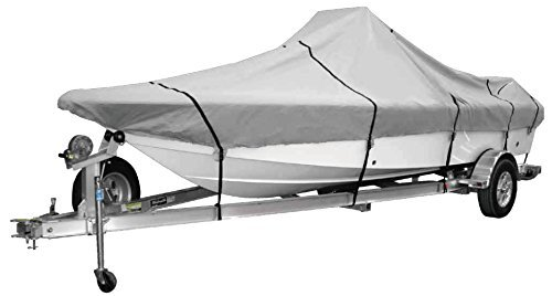 "GOODSMANN 600 Denier boat cover,water resistant,weather protection,trailerable,Silver Poly, Center Console Covers 9921-0132-32 (B Fits 20'-22' V-Hull, Boats,Beam width to 102"")"