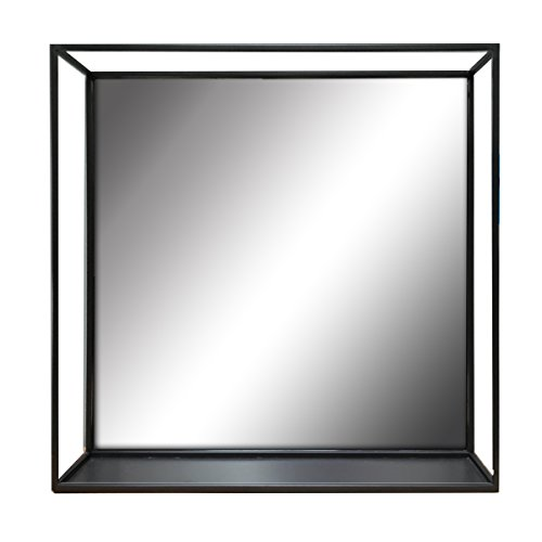"Elsa L 47145 Metal Wire Decorative Wall Mirror Shelf, 18"" Cube, Black"