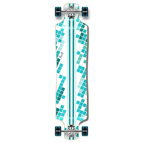 Punked Lowrider Drop down through Longboard Complete skateboard (White Digital Wave)