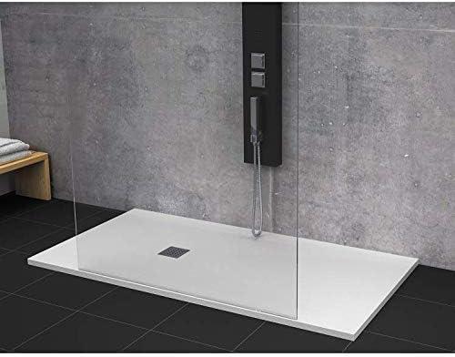Plato de ducha pizarra 90x160cm STRATO Resina Mineral con desagüe incluido BLANCO: Amazon.es: Bricolaje y herramientas