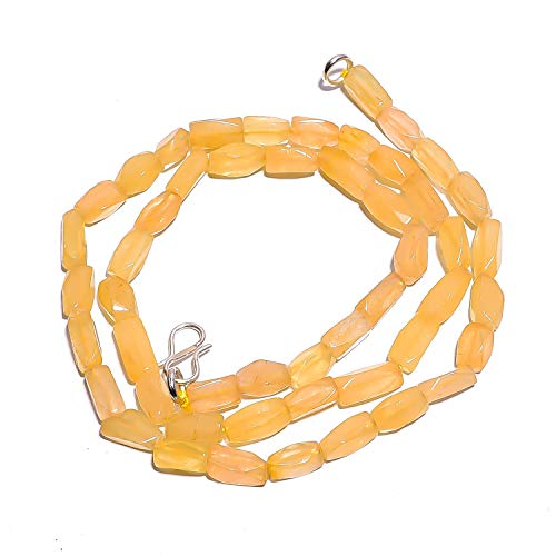 Beads Hub Natural Yellow Aventurine Gemstone Fancy Tube Smooth Beads Necklace 17
