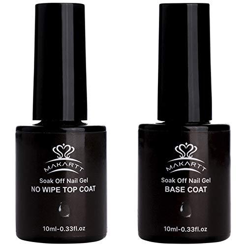 Makartt 2PCS No Wipe Base and Top Coat Kit 10ML/Bottle Soak Off UV LED Nail Gel Base Top Coat Polish Set