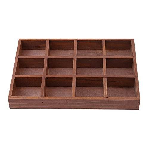 Whitelotous 12 Grids Wooden Storage Box Retro Jewelry Cosmetics Container Desktop Tools Succulents Potted Flowers Holder Organizer by Whitelotous