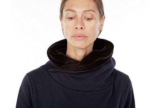 Nikriva- Sudadera Hombre Mujer Unisex Algodón Chenille Azul Marrón Manga Larga Cross Neck con Capucha Bolsillo tipo Canguro - 100% MADE IN ITALY