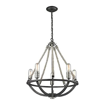 Elk Lighting 63056-5 Natural Rope 5 Light Chandelier,
