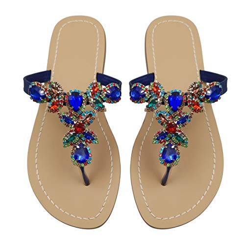 Hinyyrin Women's Summer Sandals Blue Rhinestone Jeweled Sandals for Women Bling Jelly Flat Sparkly Sandals Dress Dressy Flip Flops Size ()