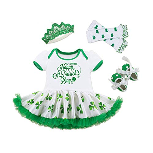 WINZIK Infant Baby Girls Happy St. Patrick's Day Letters Print Romper Bodysuit Dress+Shoes+Socks+Headband Clothes Set (0-3 Months) Green