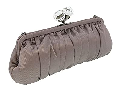 Scheilan Taupe Fabric Ruched Crystal Knot Clutch for Womens