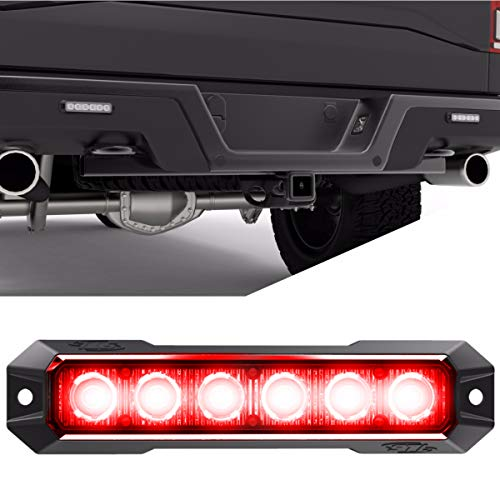SpeedTech Lights Z-6 TIR 18W LED Strobe Light for Police Cars, Construction Trucks, Service Vehicles, Plows, Emergency Vehicles. Surface Mount Grille Flashing Hazard Beacon Light - Red/Red