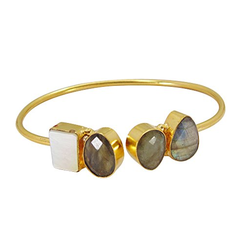 Handcrafted 18k Gold Vermeil Labradorite And White Pearl Stackable Bangle