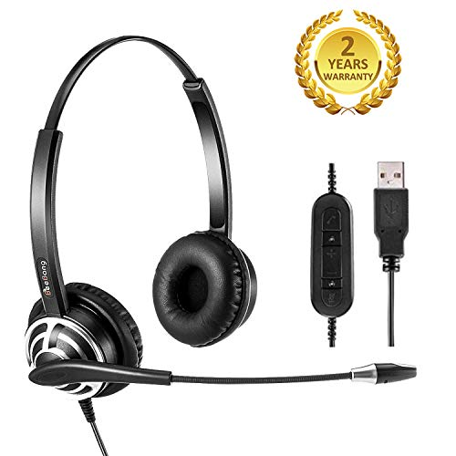 Call Center USB Headset with Noise Cancelling Microphone and Volume Control for PC Chat Skype Microsoft Lync Dragon Nuance Voice Recognition Speech Dictation