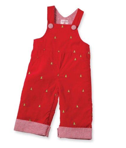 Mud Pie Baby-girls Newborn Embroidered Tree Overalls, Red, 0-6 Months