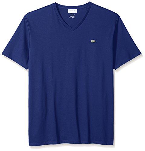 Lacoste Men's Short Sleeve V Neck Pima Jersey Shirt T-Shirt, TH6710, Ocean, XXL Pima Cotton V-neck Tee