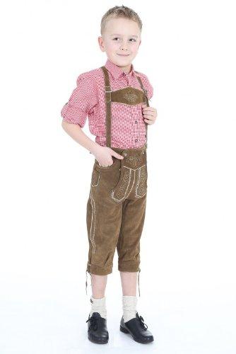 traditionelle bestickte Kniebundhose mit Latz und Stegträger in braun, diese Kinder Lederhose lässt sich wunderbar mit einenm Trachtenhemd kombinieren, Größe: 140 Farbe: OLIV-BRA