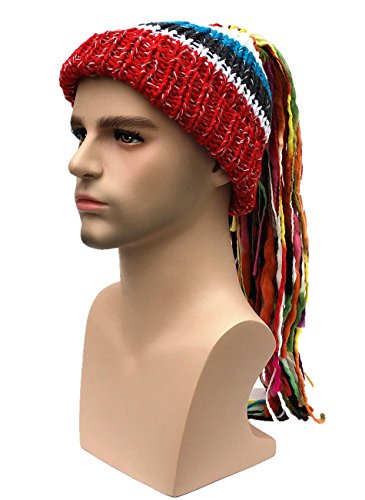 Mens Red Ponytail Wig (Kafeimali Men/Women Barbarian Vagabond Knit Hat Wig Ponytail Beanie Funny Caps (Red))