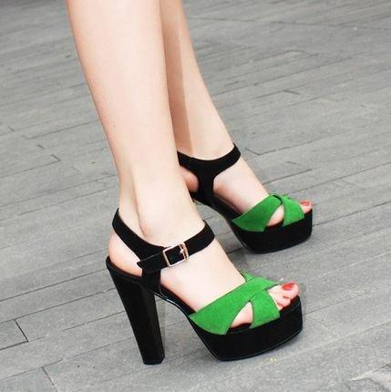con Sandali grandi impermeabili mostra spessore Pesce scarpe scarpe tallone 8 cm Giardini scarpe Stand sottile bocca grüne nAfwO4qY
