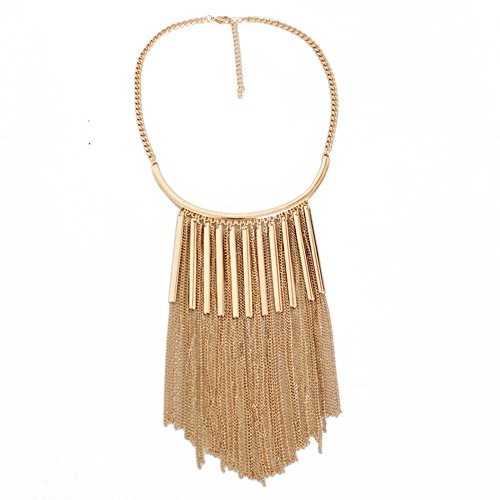 HeyGirl Fashion Christmas Chain Alloy Long Tassels Pendant Wild Gold Female Choker necklace