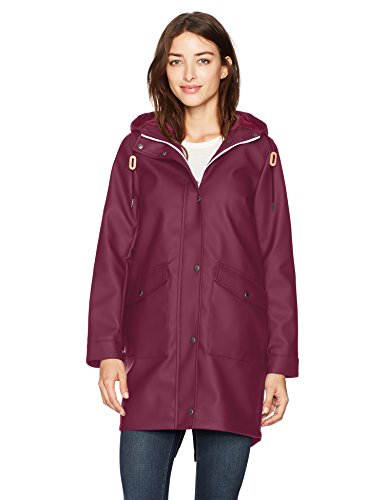 Levi's Women's Hooded Rubberized Faux Leather Anorak Jacket, Wine Extra Large