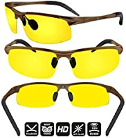 e63545b193 BLUPOND Night Driving Glasses - Semi Polarized Yellow Tint HD Vision Anti  Glare Lens - Unbreakable Metal Frame with Car Clip Holder - Knight Visor
