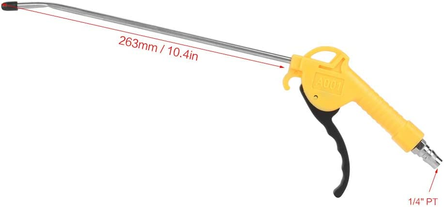 Pistola de soplado de aire con boquilla en /ángulo de 10de largo potente pistola de extracci/ón de polvo neum/ática de aleaci/ón de aluminio de alto volumen Accesorio de soplado de aire con junta