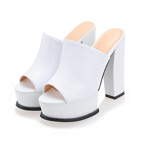 Sandals Solid Cow Leather on Womens Toe Peep Amoonyfashion High Pull White heels xwWXq0vnp7