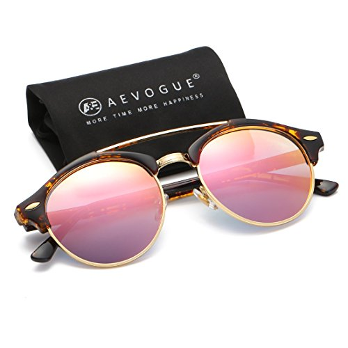 AEVOGUE Polarized Sunglasses Mens Semi-Rimless Retro Unisex Glasses AE0504 (Tortoise&Pink, 51)