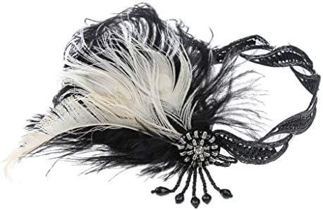 [해외]Perfeclan 클래식 헤어 밴드 리본 여성용 털 보석 머리 장식 액세서리 / Perfeclan Classic Hair Band Ribbon Women`s Feather Jewelry Hair Ornaments Accessories