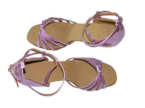 Colorfulworldstore Zapatos de baile latino con cinco correas de poliuretano acabadas en nudo en color dorado/plateado/púrpura púrpura