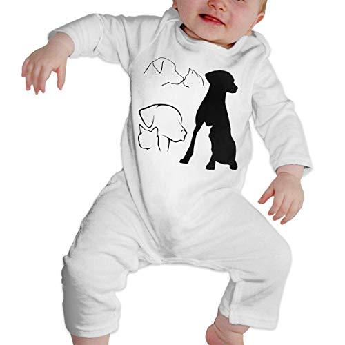 Mydufish Bodysuits Infant Baby Girls Boys Long Sleeve Bodysuit, Cute Various Dog and Cat Outlines Cotton Crawler -
