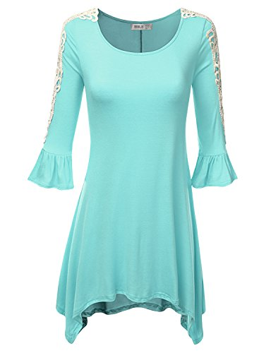 SJSP Crochet Lace Soft Fabric Loose Fit Casual MINT Tunic Top,Large,L