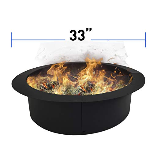 (EasyGoProducts EGP-GARD-022 EasyGo Ring - Solid Steel DIY Fire Pit Liner - Heavy Duty - Black Color - Above Ground or in Ground-33 Inch Outside 27 Inch Inside Diameter, 33