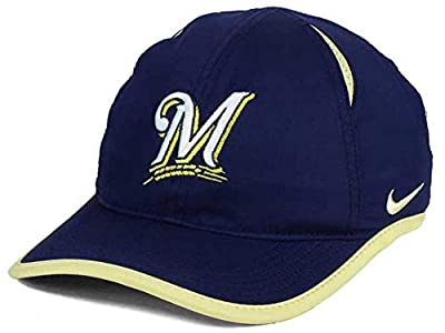 Nike Aerobill Dri Fit Adjustable Featherweight Milwaukee Brewers Cap Hat (Blue, One Size)