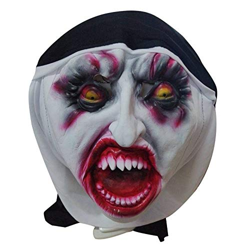 Scary Eye Shapes (Jeash Cosplay Scary Horrible Nun Eye Blooding Mask Melting Face Latex Costume Halloween Masquerade Props)
