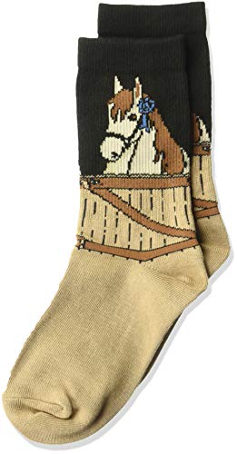 K. Bell Girls' Big Fun Novelty Crew Socks, black/Brown (blue ribbon Horse) Shoe Size: 7.5-13